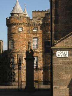 The gates of Holyrood Palace only 200 yards down the road.