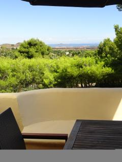 Fantastic view from your balcony and living room. Three private outdoor eating or lounging areas