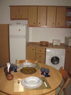 Kitchen showing built-in washing machine