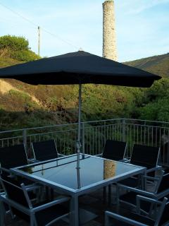 Private Roof Terrace overlooking the valley, old mine chimney and National Trust land