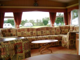 Lounge area Sandhurst Holiday Home. The Sandhurst is fully central heated.
