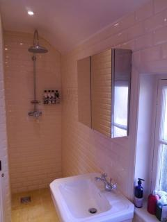 wet room style shower in second bathroom