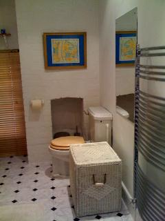 Bathroom Powerful shower over bath, heated towel rail, step for little people!