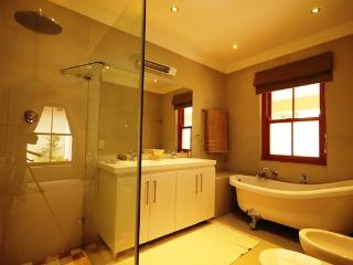 Main On Suite Full Bathroom Bath Walk in Shower Double vanity Basin Toilet Bidot Skylight Modern