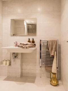 Heated towel rails.