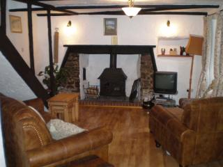 Lounge seating and fire place, inglenook fireplace with bread oven.