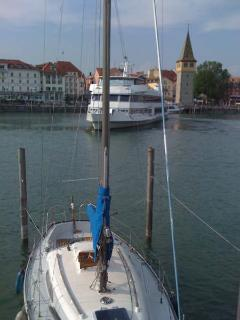 Lindau harbour with one of the ferry boats