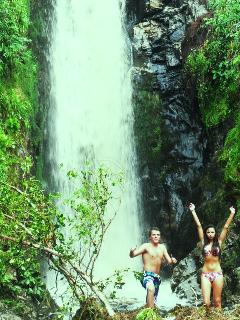 Two of our young guests enjoying a refreshing swim after walking to the nearby Glenevin waterfall.