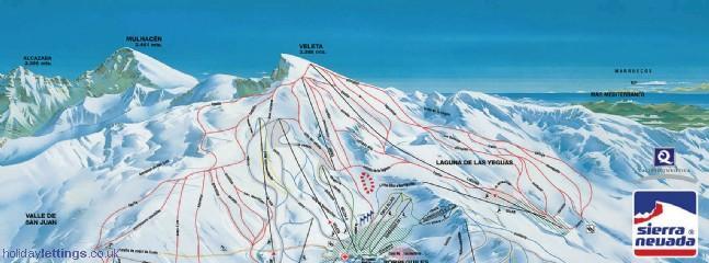 Piste Map - Sierra Nevada Ski Resort - only 1 hour away by car