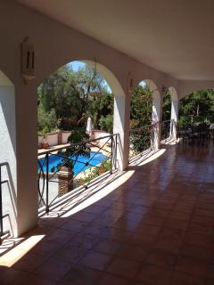 With sun on the property for most of the day guests may enjoy the shade on the middle terrace