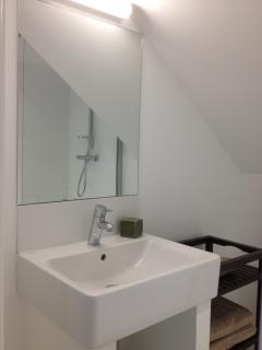 Shower room with sink, storage and radiator