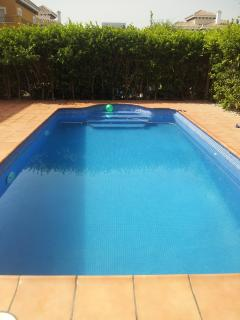 Fully patioed rear garden, with private pool- can be heated