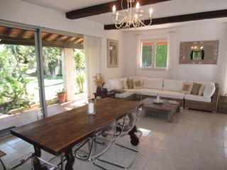 Open plan dining room through to serene lounge - with fireplace, access to garden