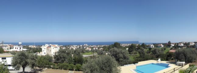 View from balcony to sea &Turkey on a clear day