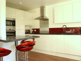 kitchen with the latest appliances and door leading onto the large decking and views