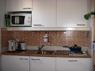 Kitchen comprising double gas hob, sink, fridge with freezer, microwave, kettle & toaster