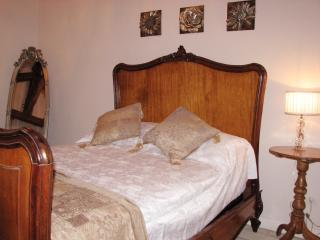 The master bedroom features an antique French bed