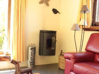 un salon chaleureux avec un poêle à bois