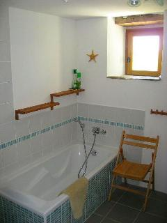 Main Bathroom with bath and separate level access shower