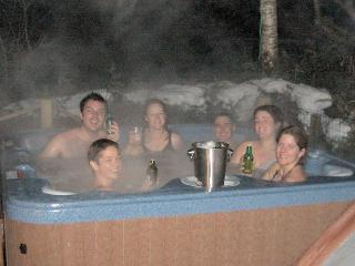 Relaxing in style in the hot-tub!