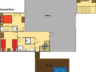8 bedroom ground floor layout - 2 rooms that can be twins or doubles.