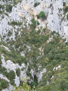 The hermitage is formed from the caves deep in the Gorge de Galamus