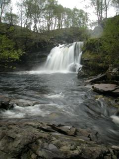 Local viewpoint. Glan Falloch waterfall known as the legendary Rob Roy's bath