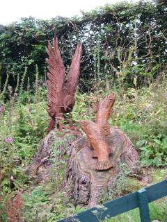 Hand carved wood sculptures on the estate