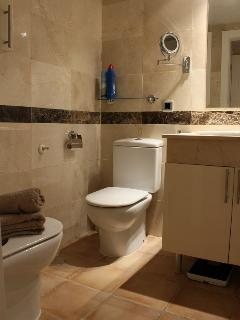 The 3 bathrooms are very similar: 2 with bath/shower, toilet and bidet, 1 with shower and toilet.