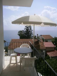 balcony view of the triple studio with 3 single beds