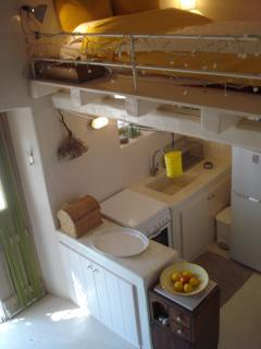 the kitchen from above