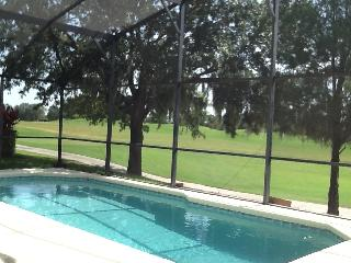 Relax around the south facing pool enjoying views over the 18th fairway