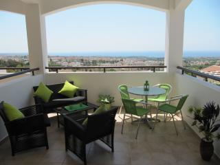 Large sun terrace, fantastic uninterrupted panoramic views of the Mediterranean sea, overlooks pool