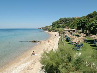 The nearby Ampoula beach has a handful of tavernas overlooking the sea.