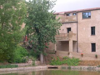 Detalle de las terrazas hacia el estanque