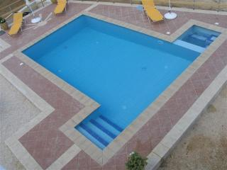 Easy access stairs and power jet seat in this crystal clear pool