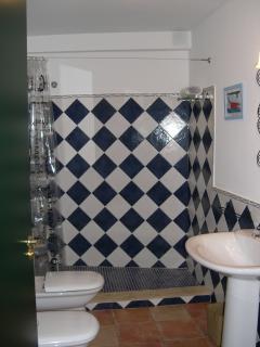 Un cuarto de baño con ducha de mosaico