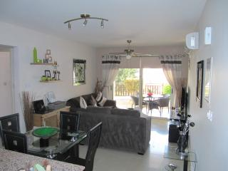 Modern furnished living area, leading out to large furnished sun terrace & private garden
