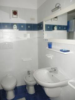 Bagno principale con doccia e lavatrice
