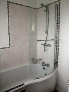Bath and shower in family bathroom.