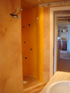 the Round Yellow Shower as seen from inside the Bathroom