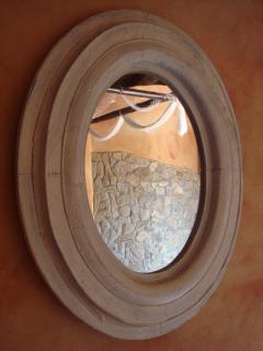 The Shower's External Wall as seen from the Bedroom's Antique Oval Mirror