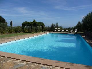 Pool  relaxing area at Villa Castellare de Sernigi in Chianti