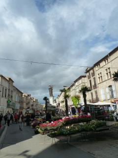 The Saturday market in Pezenas, local cultural centre and birth place of Molliere.