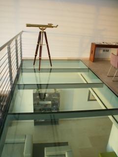 Mezzanine dining room glass floor