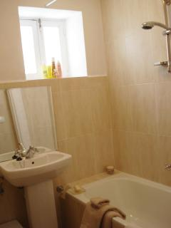 Modern shower and bath supplied with hot water from electrically heated supply
