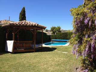 South facing private flat garden with gazebo and heated pool