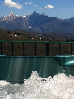 View when sitting in Jacuzzi views over the peaks