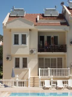 View Of Apartment Showing Main Balcony And Above Roof Terrace Which Both Face The Pools