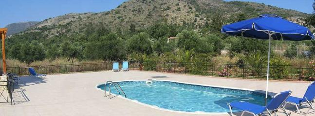 Wide patio and pool area - 'our mountain' in the background